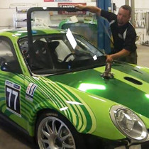 Porsche Rally Car Windshield Replacement at Kelly Moss Motorsports in Madison, WI